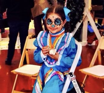 Dia de Los Muertos: A young Ana Mijares is dressed up to celebrate.