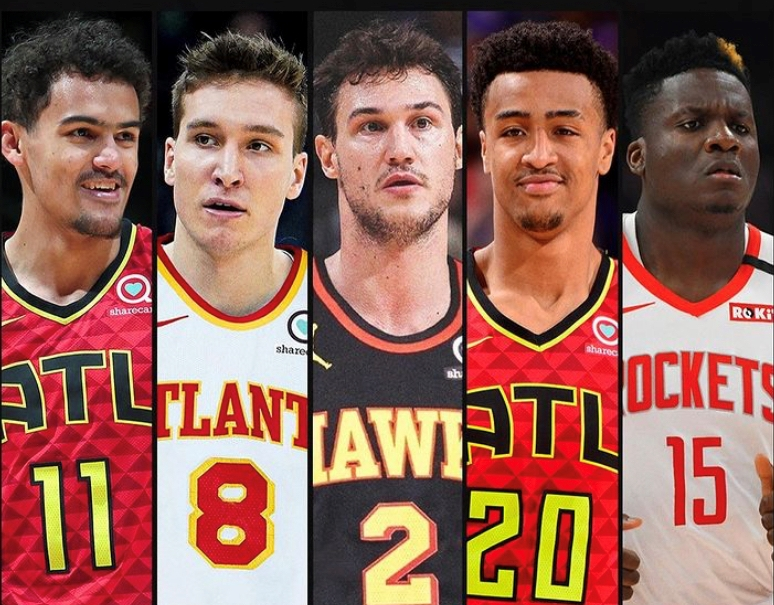 Highlight Factory Redux? Thanks to some spectacular off-season acquisitions, the Hawks this year could be bringing something back to Atlanta that's not existed for a while – NBA relevancy. Shown l to r are Trae Young, Bogden Bagdanovic, Danilo Gallinari, John Collins and Clint Capela.