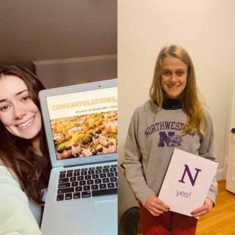 Devoted Dubs: Shown above from left to right are seniors Virginia Moses and Nora Rosenfeld. They both made the choice to apply early decision and are attending their respective #1 school next fall.
