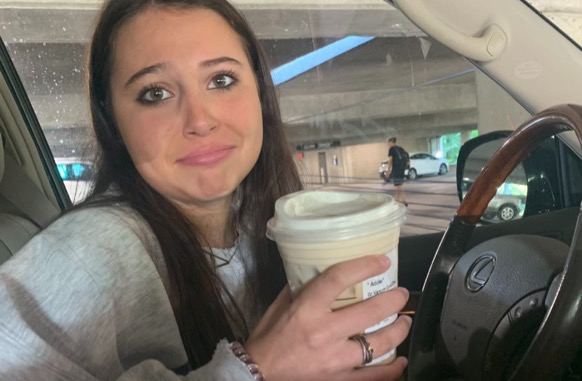 Left empty handed: Pictured here is junior Addie Nash. Her and other Dubs are disappointed in the Starbucks shortage that has ruined their mornings.