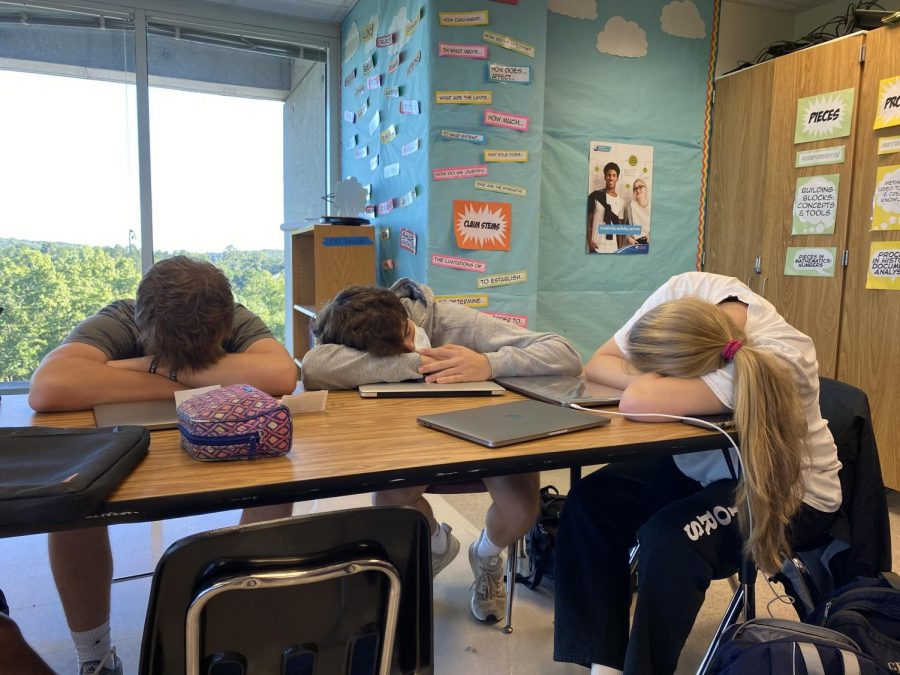 Dozing+Dubs%3A+Juniors+Powers+Carpenter%2C+Ryan+Hohenstein%2C+and+Caroline+Edwards+take+a+much+needed+snooze+in+class+after+a+night+of+staying+up+into+the+late+hours.+
