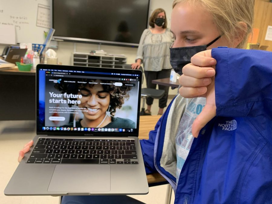 Stressed out seniors: Student Kate Nelson shows her