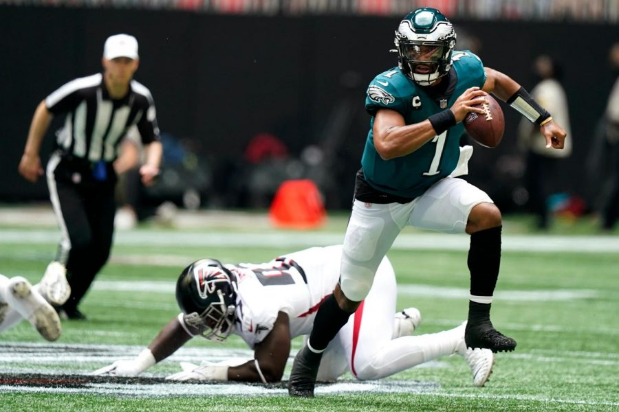 Young star: Eagles QB Jalen Hurts shined against the hometown Falcons in their season opening rout.
