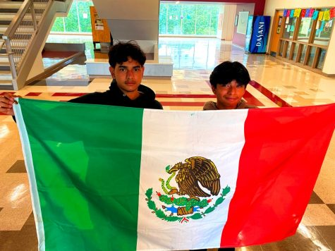 Pride of Place: Freshmen Octavio Mendoza and Jesus Rodriguez take part in the school-wide celebration of Hispanic Heritage Month, which runs from Sept. 15 to Oct. 15